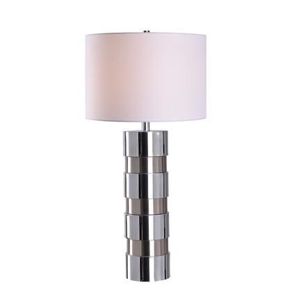 Leland 35247CH Table Lamp with 3-Way Socket Switch  White Fabric Shade and supports 1-150 Watt 3-Way (M) Bulb in Chrome and Brushed Steel