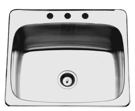 QSL2225/12N/4 26 inch  Single Bowl Bath Sink  20 Gauge Stainless Steel Sink  4 Faucet