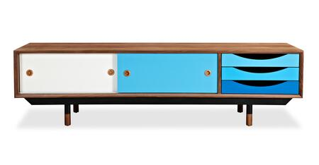 STO-MC-THEORY-WALBLU Color Theory Mid-Century Modern Media Cabinet  Walnut/Blue
