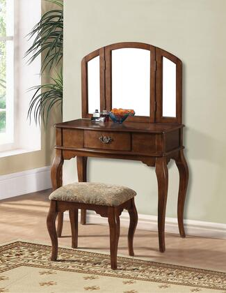Maren 90094 32 inch  Vanity and Stool with 1 Decorative Hardware Drawer  Tapered Legs and Cushioned Stool Seat in Oak