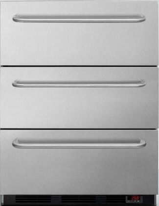 EQFM3D 24 inch  3 Drawer Freezer with 3.2 cu. ft. Capacity  Digital thermostat  3 Professional Towel Bar Handles  Manual Defrost  Hospital Grade Cord  in Stainless
