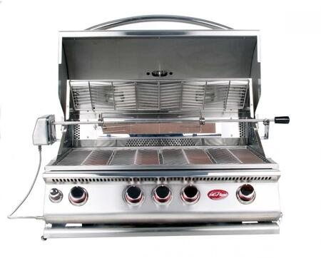 BBQ18874CP Built In Liquid Propane Grill with 4 Burners  Built- In Light  Convection Oven  Conversion Kit  and Independent Ignition  in Stainless 907305