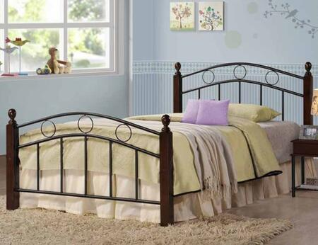 Kyan Collection 400024T Twin Size Bed with Decorative Finials  Wood Posts and Open-Frame Panel Design in Cappuccino and Sandy