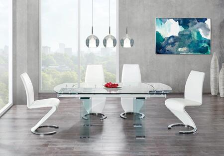 D2160DT4D9002DC-WH 5-Piece Dining Room Set with Dining Table and 4 Dining Chairs in Clear Glass and