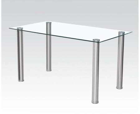 Hayden Collection 71390 55 inch  Dining Table with 10mm Clear Tempered Glass Top  Rectangular Shape and Thick Metal Legs in Chrome