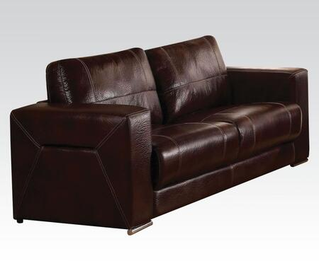 Brayden Collection 51685 Sofa with Track Arms and Leather Like Fabric Upholstery in Dark