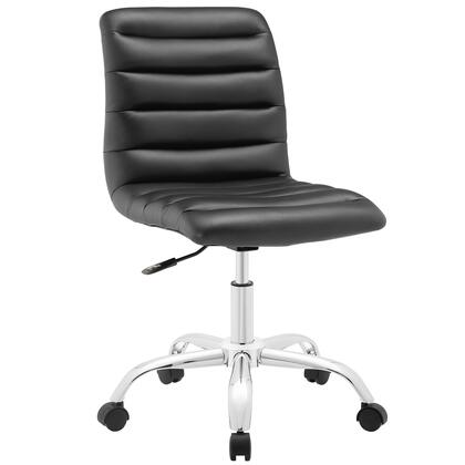 Ripple Collection EEI-1532-BLK Armless Office Chair with Swivel Seat  Adjustable Height  Polished Chrome Hooded Base  Five Dual-Wheel Nylon Casters  Mid High