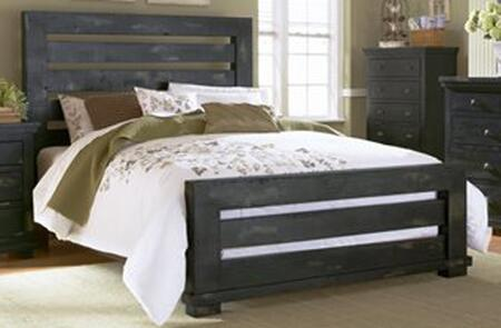 Willow P612-80-81-78 King Sized Slat Bed with Headboard  Footboard and Side Rails in Distressed