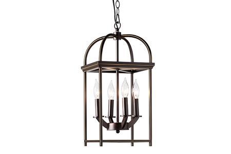 EVEN3681 Baxton Studio Linez Vintage Rustic Farmhouse Dark Bronze Metal 4-Light Lantern Pendant