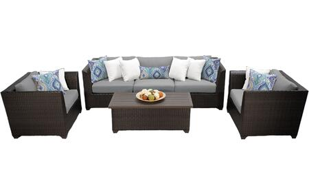 Barbados BARBADOS-06g-GREY 6-Piece Wicker Patio Set 06g with 2 Corner Chairs  1 Armless Chair  2 Club Chairs and 1 Coffee Table - Wheat and Grey