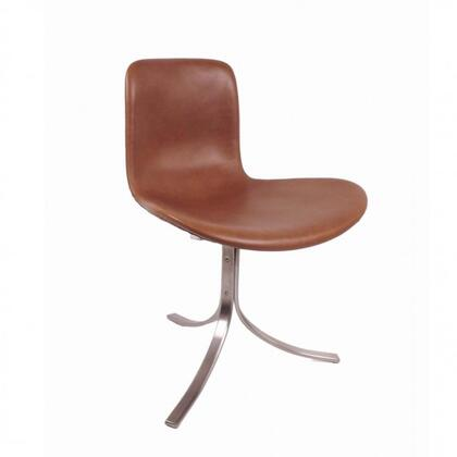 Decker FB839TAN Chair with Stainless Steel Base  Reinforced Fiberglass Frame and Full-Aniline Leather Upholstery in Tan and