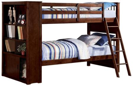 37080 Yaffa Twin/Twin Bunk Bed with Ladder  Bookcase with 2 Doors  3 Shelves and 6 Storage Compartments in