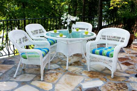 Portside PSD-WH MONTL 5 Piece Dining Set with Round Table and 4 Chairs in White with Monti Leaf