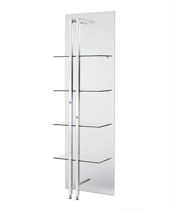 DI1439 Blake Small Bookshelf/Divider  Back Is 10Mm Tempered Glass One Side Frosted  8Mm Frosted Tempered Glass Shelves. Polished Stainless Steel