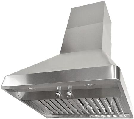 RAX9536SQB-DC24-1 36 inch  Wall Mount Range Hood with 760 CFM Internal Blower  3 Speeds  Rotary Control  LED lights  Stainless steel Baffle Filters and QuietMode: