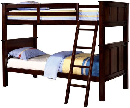 Gracie Collection CM-BK930TT-BED Twin over Twin Size Bunk Bed with Angled Ladder  Slat Kit Included  Solid Wood and Wood Veneer Construction in Dark Walnut