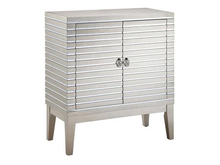 12068 Foxy Cabinet Chest with Two Doors  Hidden Storage and Champagne Metallic Finish with Mirrored