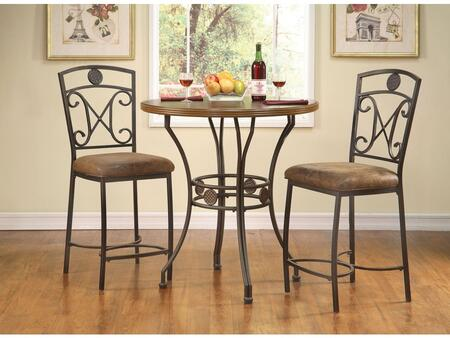 Tavio Collection 96068TS 2 PC Bar Table Set with Counter Height Table + 2 Counter Height Chairs in Walnut and Dark Bronze