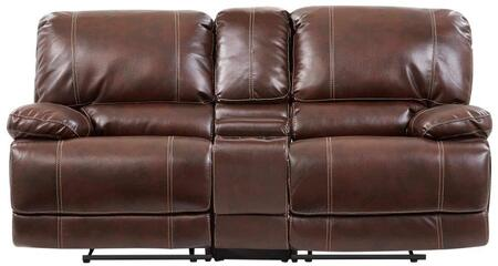 U1953AGNESCOFFEECRL 79 inch  Console Reclining Loveseat with Cup Holders  Plush Padded Arms  Stitched Detailing in Agnes