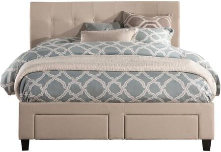 Duggan 1284BQRS Queen Sized Bed with Upholstered Headboard  Storage Footboard and Front Storage Side Rails in Linen Beige