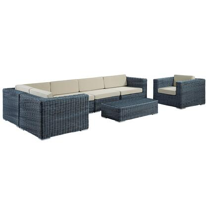 Summon Collection EEI-1892-GRY-BEI-SET 7-Piece Outdoor Patio Sunbrella Sectional Set with Arm Chair  Coffee Table  3x Corner Chairs and 2x Armless Chairs in