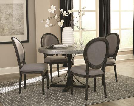 Rochelle Collection 1075505SET 5 PC Dining Room Set with Dining Table + 4 Side Chairs in Zinc and Black Wire Brush