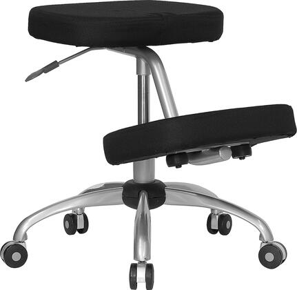 WL-1425-GG Mobile Ergonomic Kneeling Chair in Black Fabric with Silver Powder Coated