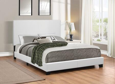 Mauve Collection 300559F Full Size Platform Bed with Faux Leather Upholstery  Clean Line Design  Solid Wood Legs  Tall Headboard and Low Profile Footboard in