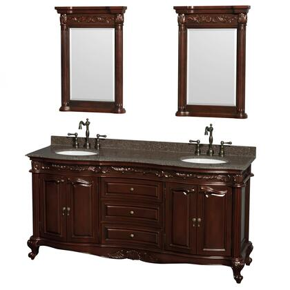 WCJJ23372DCHIBUNOM24 72 in. Double Bathroom Vanity in Cherry  Imperial Brown Granite Countertop  Undermount Oval Sinks  and 24 in.