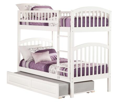 Richland AB64132 Twin Over Twin Bunk Bed With Raised Panel Trundle Bed In
