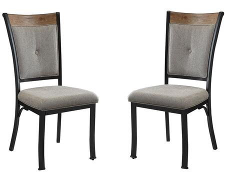 Zeke Collection 73022 19 inch  Set of 2 Side Chair with Light Brown Polyester Fabric Upholstery  Oak Wooden Insert and Metal Frame in Black
