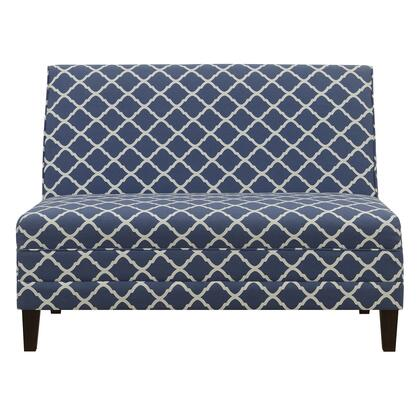 DSD153715658 High Back Armless Upholstered Blue Settee