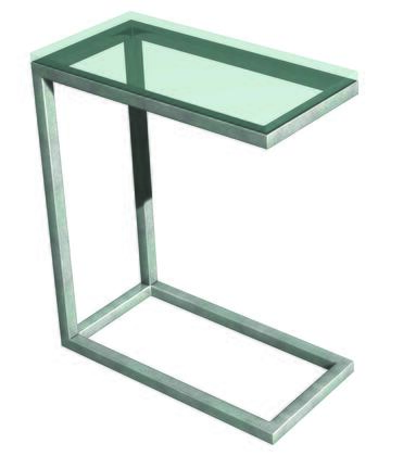 12220.02.333 Soho Snack Table With 1 inch  Square Tubes Frame Constructed  .625 inch  Thick Glass  Thinner Profile Frame & Stainless Steel