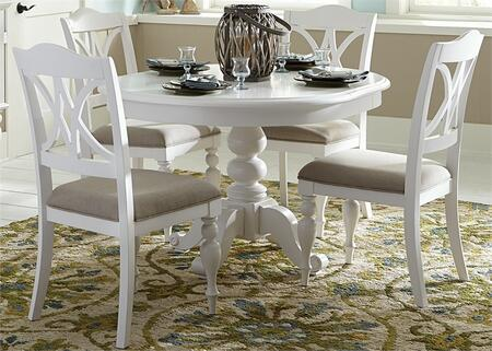Summer House Collection 607-CD-5PDS 5-Piece Dining Room Set with Round Pedestal Table and 4 Side Chairs in Oyster White