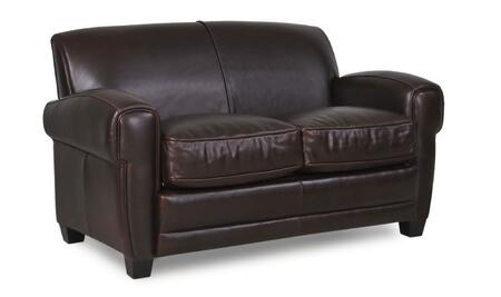 Havana Collection 61402E/3066 60 inch  Loveseat with Top Grain Leather Upholstery  Track Arms and Tapered Legs in Classic