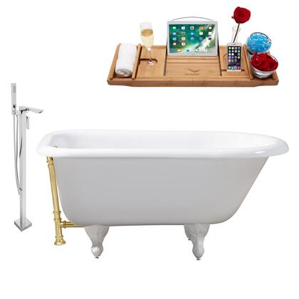 RH5100WH-GLD-140 66 Oval Shaped Soaking Clawfoot Tub With 58 Gallons Capacity Vintage Style Enamel And Cast Iron Construction And Floor Mounted