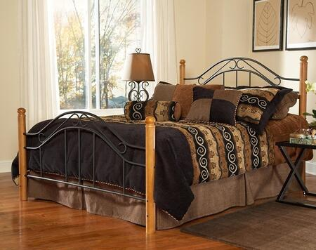 Winsloh Collection 164BQR Queen Size Poster Bed with Headboard  Footboard  Rails  Rounded Finials  Wood Posts and Open Metal Frame Panels in Black and Medium