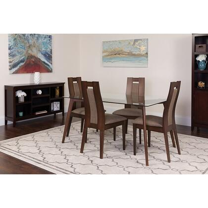 ES-115-GG Lincoln 5 Piece Espresso Wood Dining Table Set With Glass Top And Curved Slat Wood Dining Chairs - Padded Seats 39