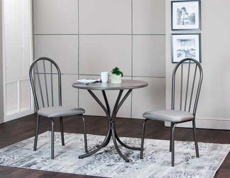 CR-D8719-59-3PC 3 Piece Dining Table Set with 1 Round Table and 2 Chairs with Padded Seats in Steel