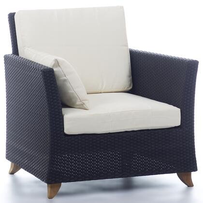 PR30-W 33 inch  Rattan Deep Seating Arm Chair with Solid Teak Legs  Heavy-Gauge Aluminum Frame and Water Resistant Polyester Fabric Cushion in