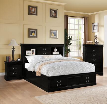 Louis Philippe III Collection 24384CK3SET 3 PC Bedroom Set with California King Size Bed  Chest and Nightstand in Black