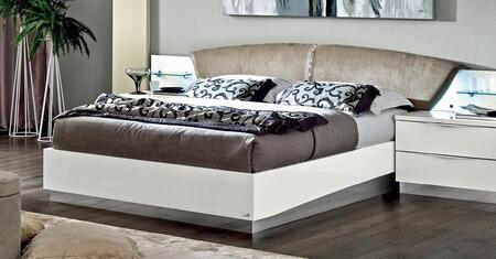 Onda Collection i10463 King Size Bed with Stain Repellant Teflon Technology  Crystal Strip  Made in Italy and Nabuk Eco-Leather Upholstered Headboard in White