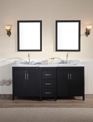 E073DBLK Ariel Hollandale 73 inch  Double Sink Vanity Set with Marble Top  Mirror  Three Drawers and Four Doors in