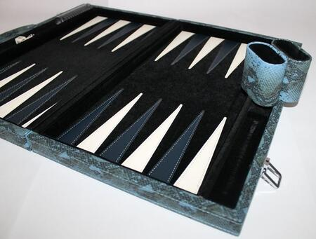 PYT101BL 18 inch  Backgammon Set with Instructions  Dice  Playing Cups  and Chips: Faux Python