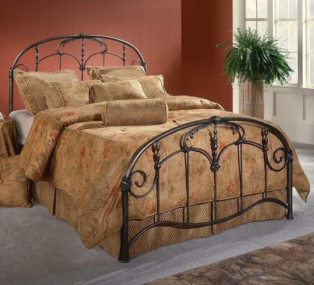 Jacqueline Collection 1293BKR King Size Bed with Headboard  Footboard  Rails  Ornate Spindles  Scrollwork and Sturdy Metal Construction in Old Brushed