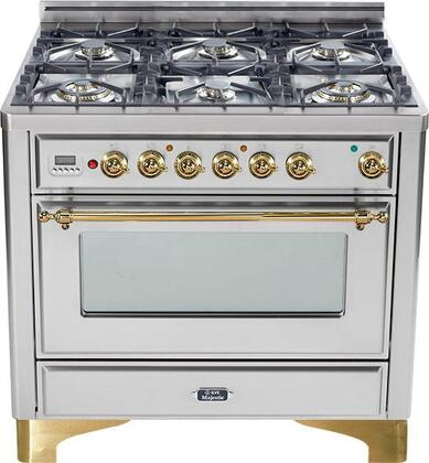 "UM-906-DMP-I 36"" Majestic Series Dual Fuel Range with 3.55 cu. ft. Oven Capacity  6 Burners  Electronic Ignition  Digital Clock and Timer  and Brass Trim:"