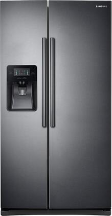 "RS25J500DSG 36"" Side-By-Side Refrigerator with 24.52 cu. ft. Total Capacity  External Ice and Water Dispenser  and LED Lighting: Black Stainless"