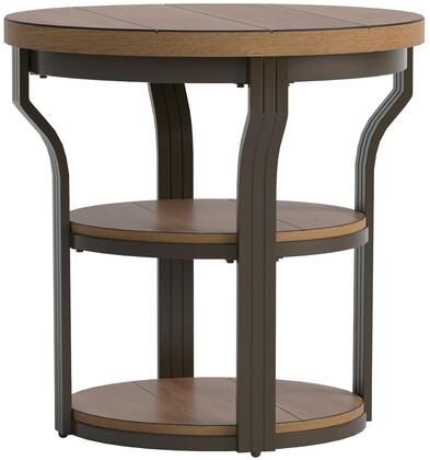 Geoff Collection 80461 24 inch  End Table with 2 Shelves  Round Shape  Medium-Density Fiberboard