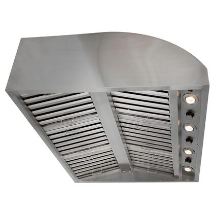 BLZ-WVH-42 42 inch  Outdoor Vent Hood with Two Independent 1000 CFM 4 Speed Motors  4 Adjustable Halogen Lights and Grease Free Retractable Controls with Lighted