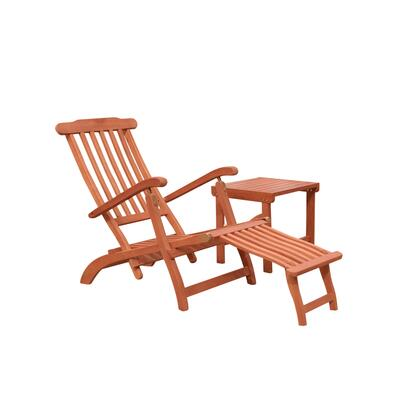 Malibu Collection V1802SET3 2-Piece Outdoor Patio Chaise Lounge Set with Chaise Lounge and Side Table in Natural Wood